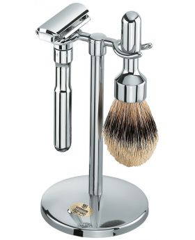 Merkur Futur 781 Polished Chrome Shave Set With Adjustable Double Edge Safety Razor