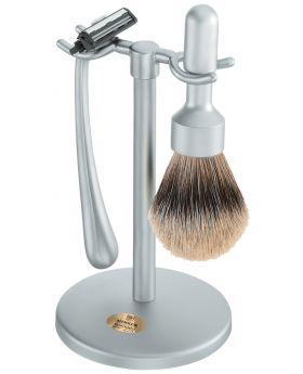 Merkur Matt Chrome 3 Piece Stylish Shave Set